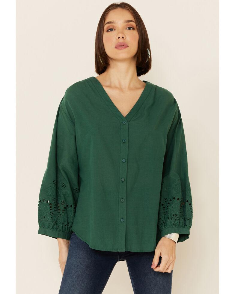Wishlist Women's Eyelet Trim Crochet Long Sleeve Top , Green, hi-res