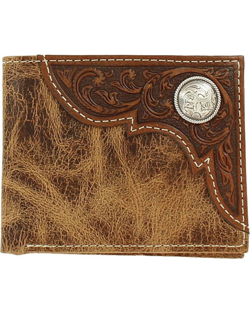 Ariat Men's Embossed Overlay Wallet, Tan, hi-res