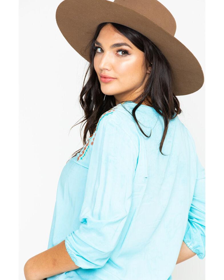 Panhandle Women's V-Neck Loose Embroidered Challis Top  , Light Blue, hi-res