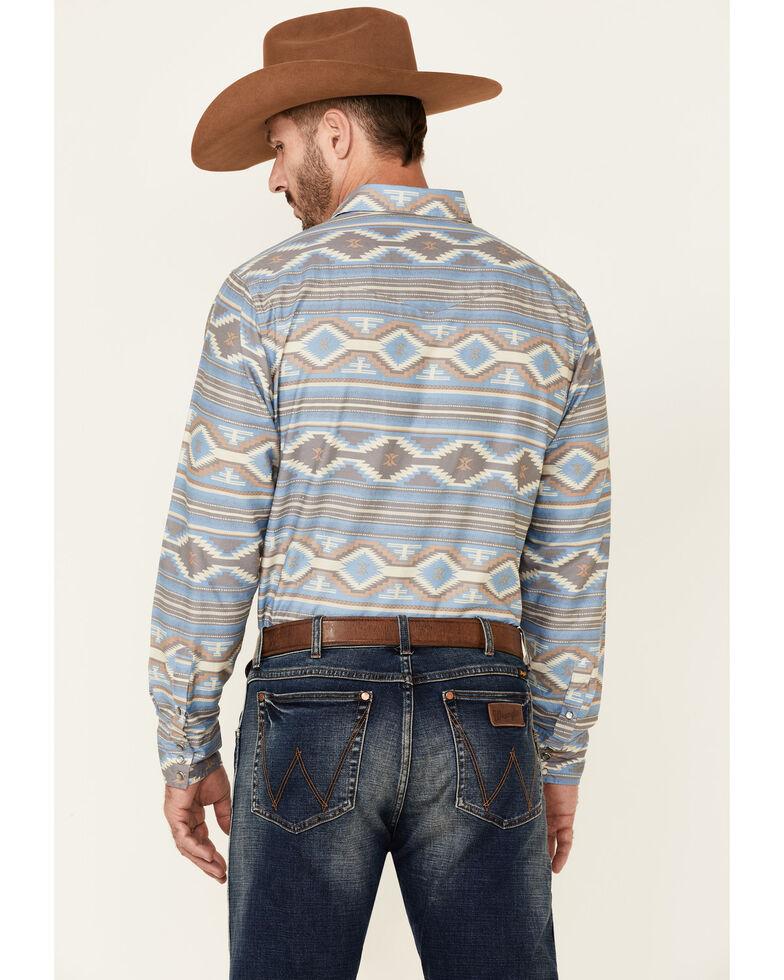 Roper Men's Blue Aztec Stripe Long Sleeve Snap Western Shirt , Blue, hi-res