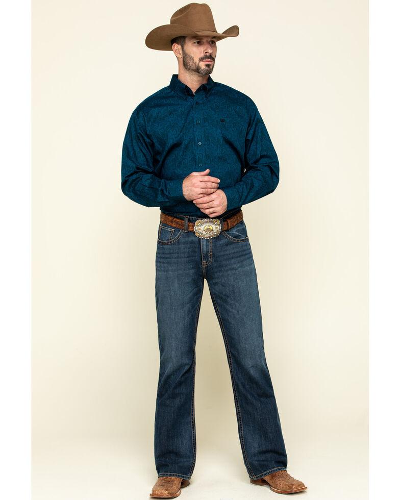 Cinch Men's Blue Paisley Print Button Long Sleeve Western Shirt , Blue, hi-res