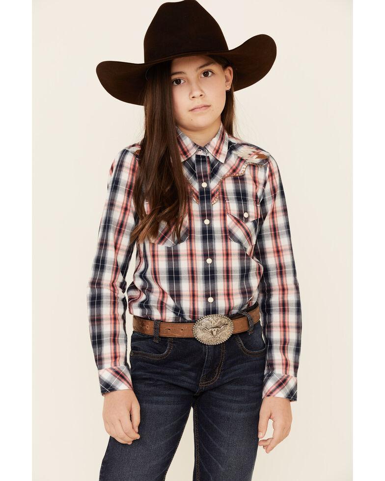 Ariat Girls' R.E.A.L Dynamic Plaid Aztec Yoke Long Sleeve Western Shirt  , Multi, hi-res