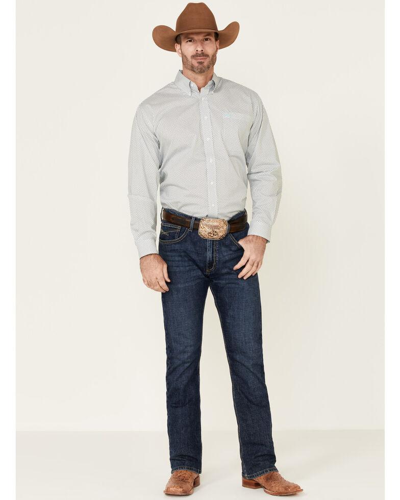 Cinch Men's White Stretch Geo Print Long Sleeve Western Shirt , White, hi-res