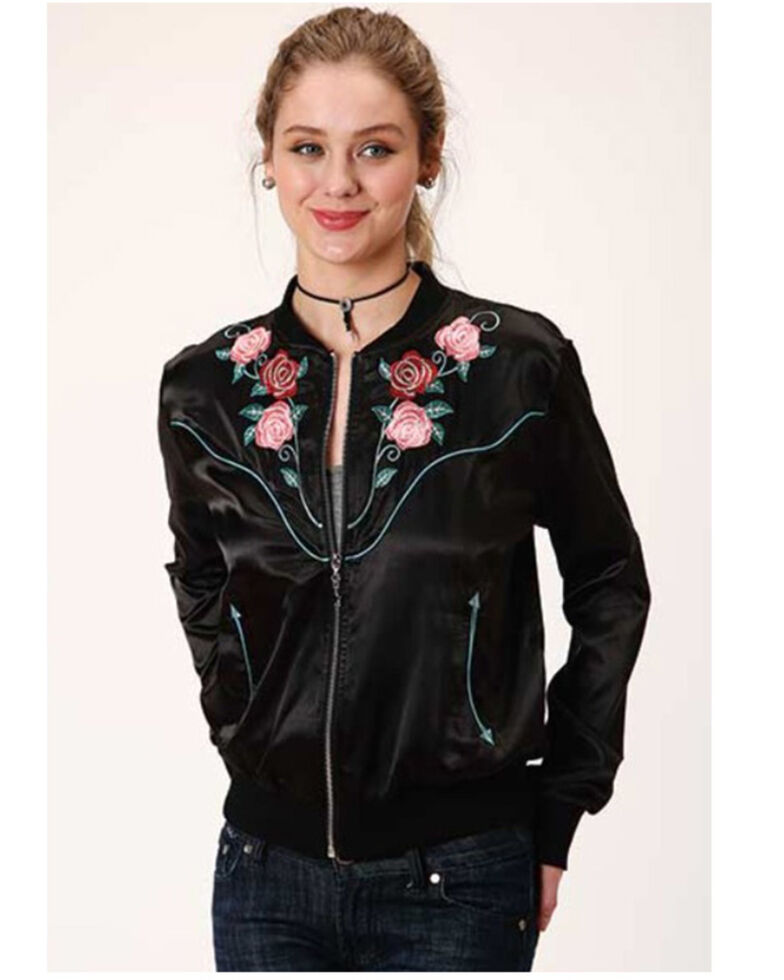 Five Star Women's Black Satin Floral Embroidered Bomber Jacket, Black, hi-res