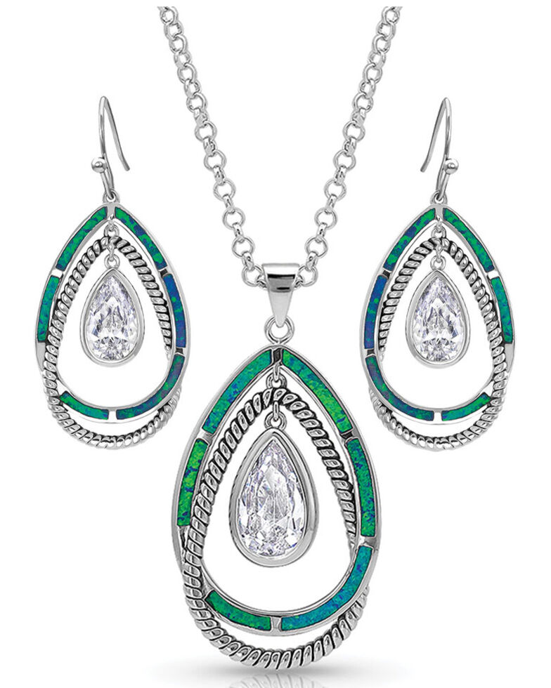 Montana Silversmiths Women's Opal Ribbons Teardrop Jewelry Set, Silver, hi-res