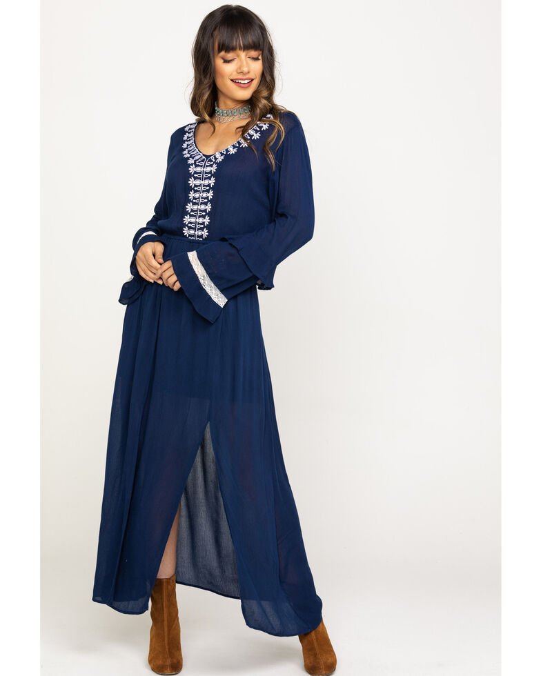Rock & Roll Cowgirl Women's Embroidered Slit Maxi Dress, Navy, hi-res