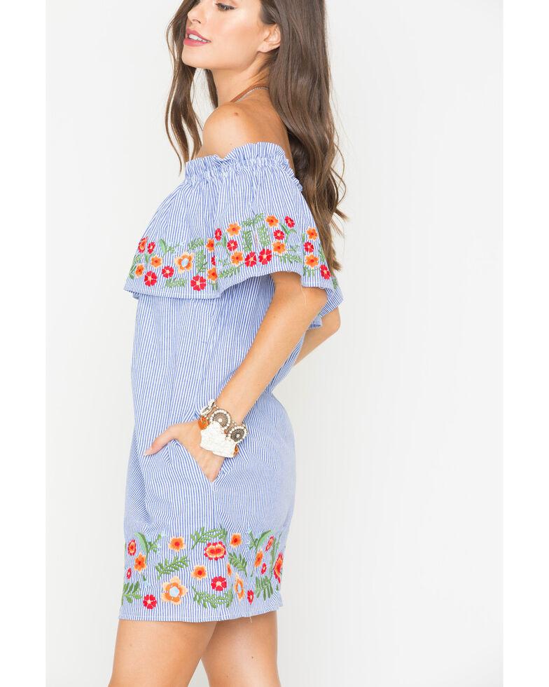 Miss Me Women's Spring To It Off-The-Shoulder Dress, Blue, hi-res