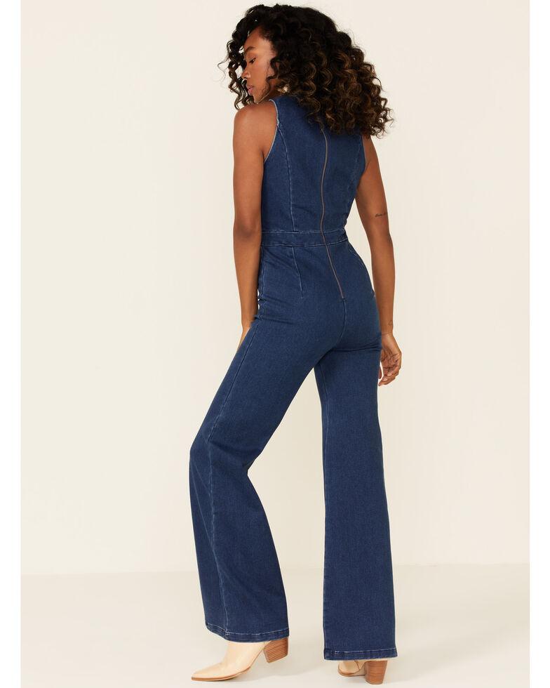 Flying Tomato Women's Denim Wide Leg Jumpsuit, Blue, hi-res