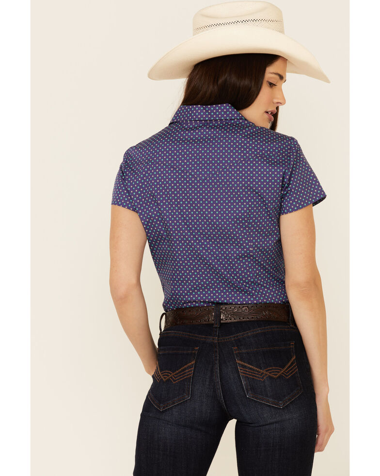 Amarillo Women's Wildwood Amethyst Geo Print Short Sleeve Snap Western Core Shirt , Purple, hi-res