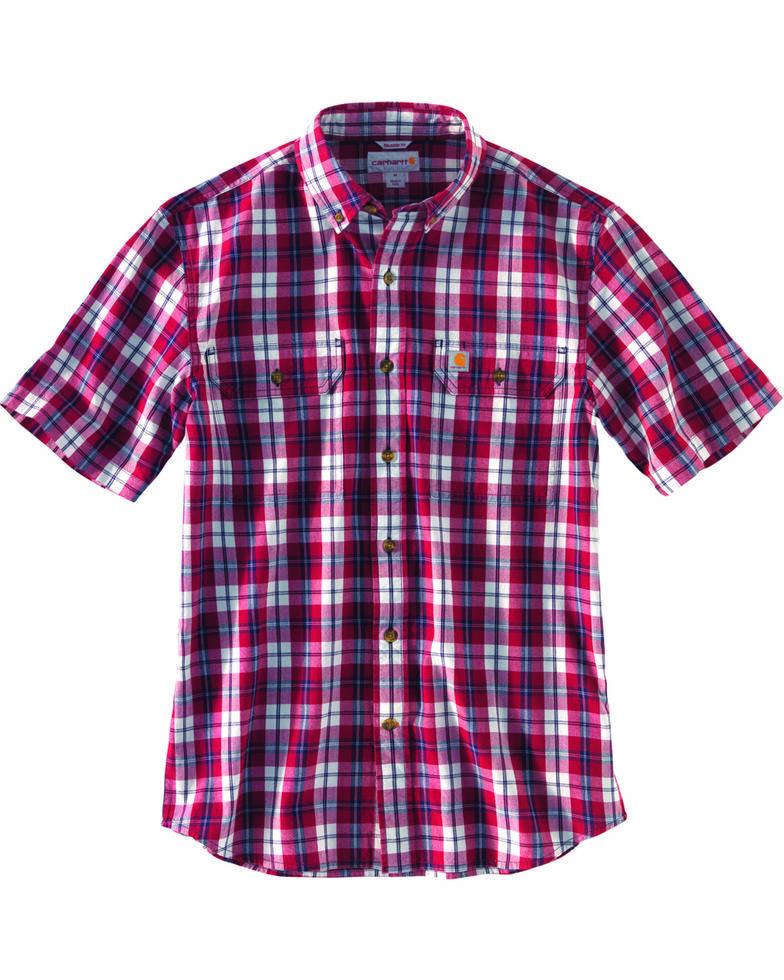 Carhartt Men's Fort Plaid Short Sleeve Shirt , Dark Red, hi-res