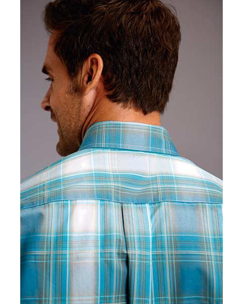 Stetson Men's Teal Plaid Button Long Sleeve Western Shirt , Blue, hi-res
