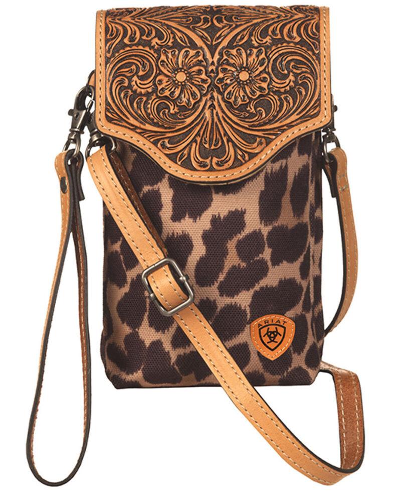 Ariat Women's Leopard Tooled Crossbody Cellphone Bag, , hi-res