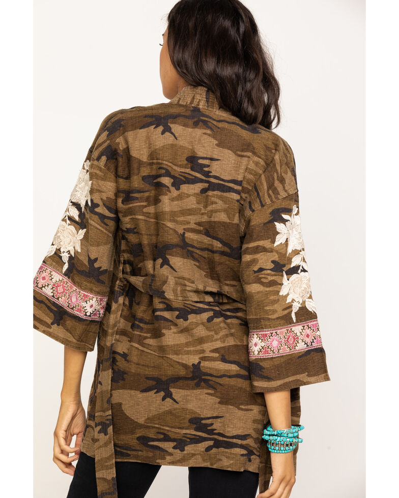 Johnny Was Women's Molly Camo Yuki Trapunto Linen Kimono, Multi, hi-res