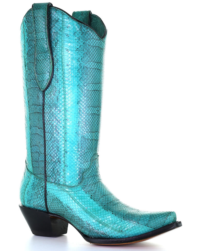 Corral Women's Turquoise Exotic Snake Skin Western Boots - Snip Toe, Turquoise, hi-res