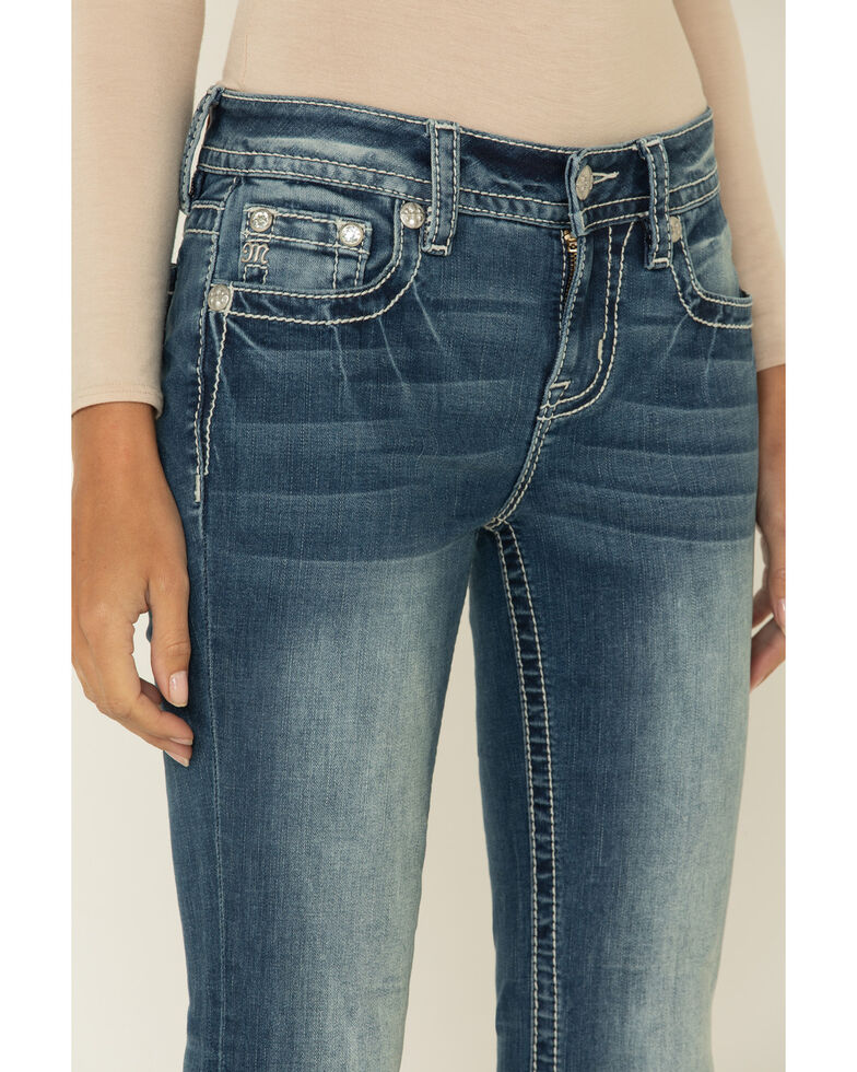 """Miss Me Women's Medium Ombre Embroidered Aztec 34"""" Flare Jeans , Blue, hi-res"""