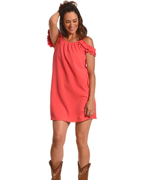 CES FEMME Women's Coral Open Shoulder Dress , Coral, hi-res