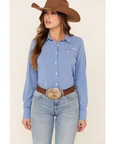 Ariat Women's Blue Solid AriatTEK Stretch Long Sleeve Western Core Shirt , Blue, hi-res