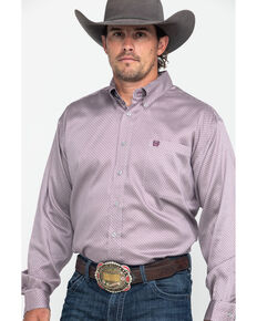 Cinch Men's Grey Mini Diamond Geo Print Long Sleeve Western Shirt , Grey, hi-res