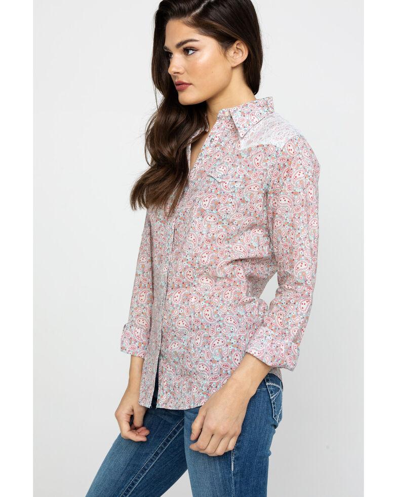 Wrangler Women's Paisley Lace Western Shirt, Sage, hi-res
