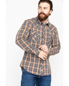 Rock & Roll Denim Men's Yarndye Plaid Long Sleeve Western Shirt, Brown, hi-res