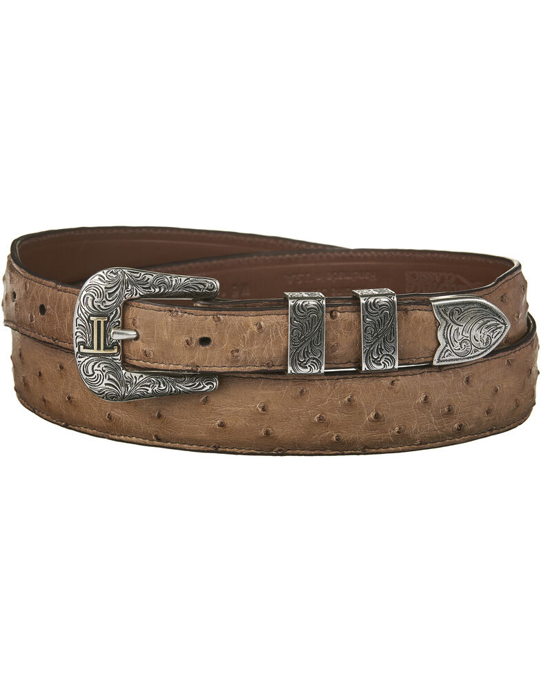 Lucchese Men's Brown Full Quill Ostrich Leather Belt, Tan, hi-res