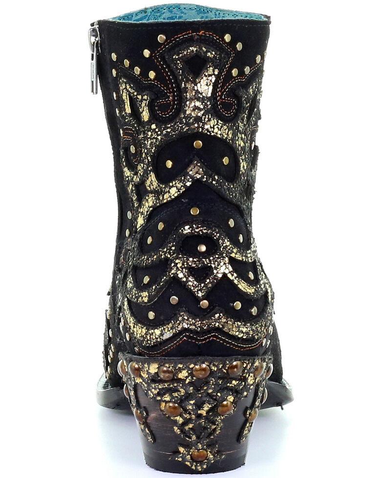 Corral Women's Black Metallic Overlay Booties - Snip Toe, Black, hi-res