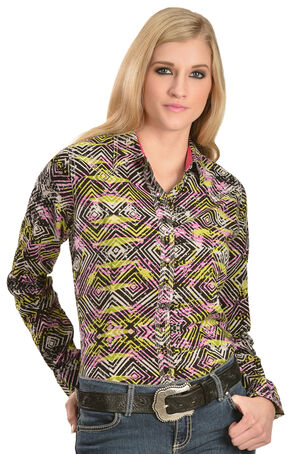 Wrangler Rock 47 Women's Geo Print Western Shirt, Black, hi-res
