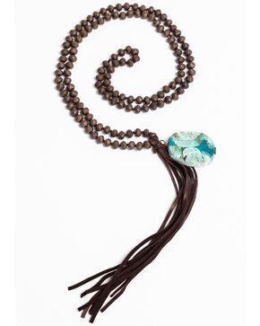 Jewelry Junkie Matte Copper Faceted Beaded Necklace with Ocean Agate and Tassel, Blue, hi-res