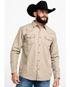 Moonshine Spirit Men's Quicksand Solid Long Sleeve Western Flannel Shirt , Tan, hi-res