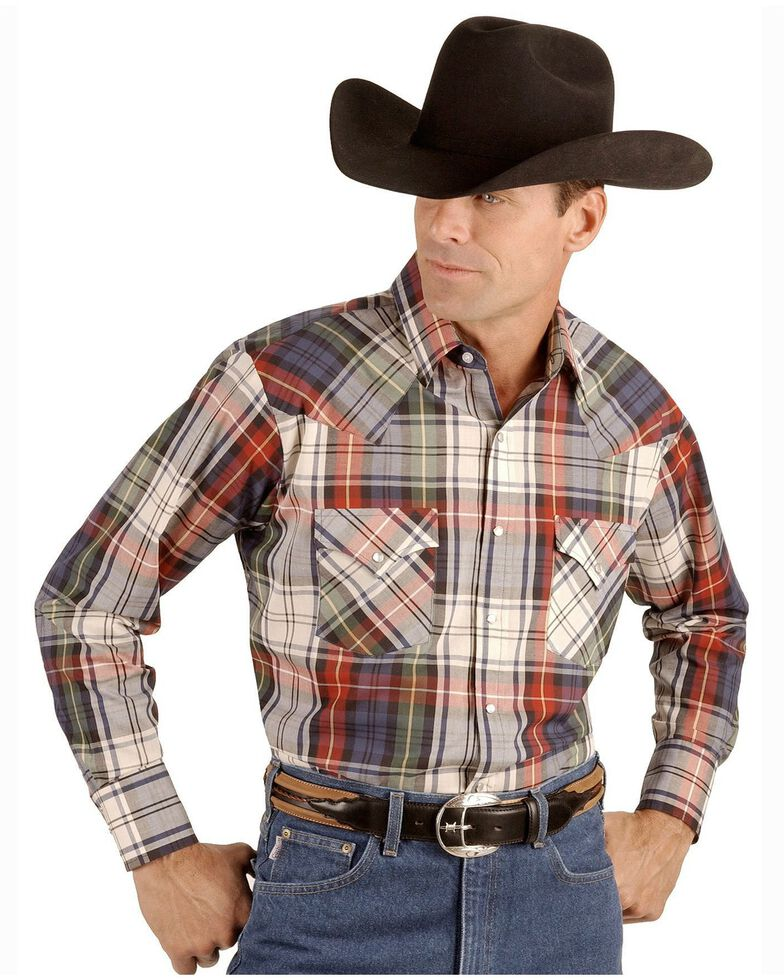Ely Cattleman Men's Assorted Plaid or Stripe Long Sleeve Western Shirt, Plaid, hi-res