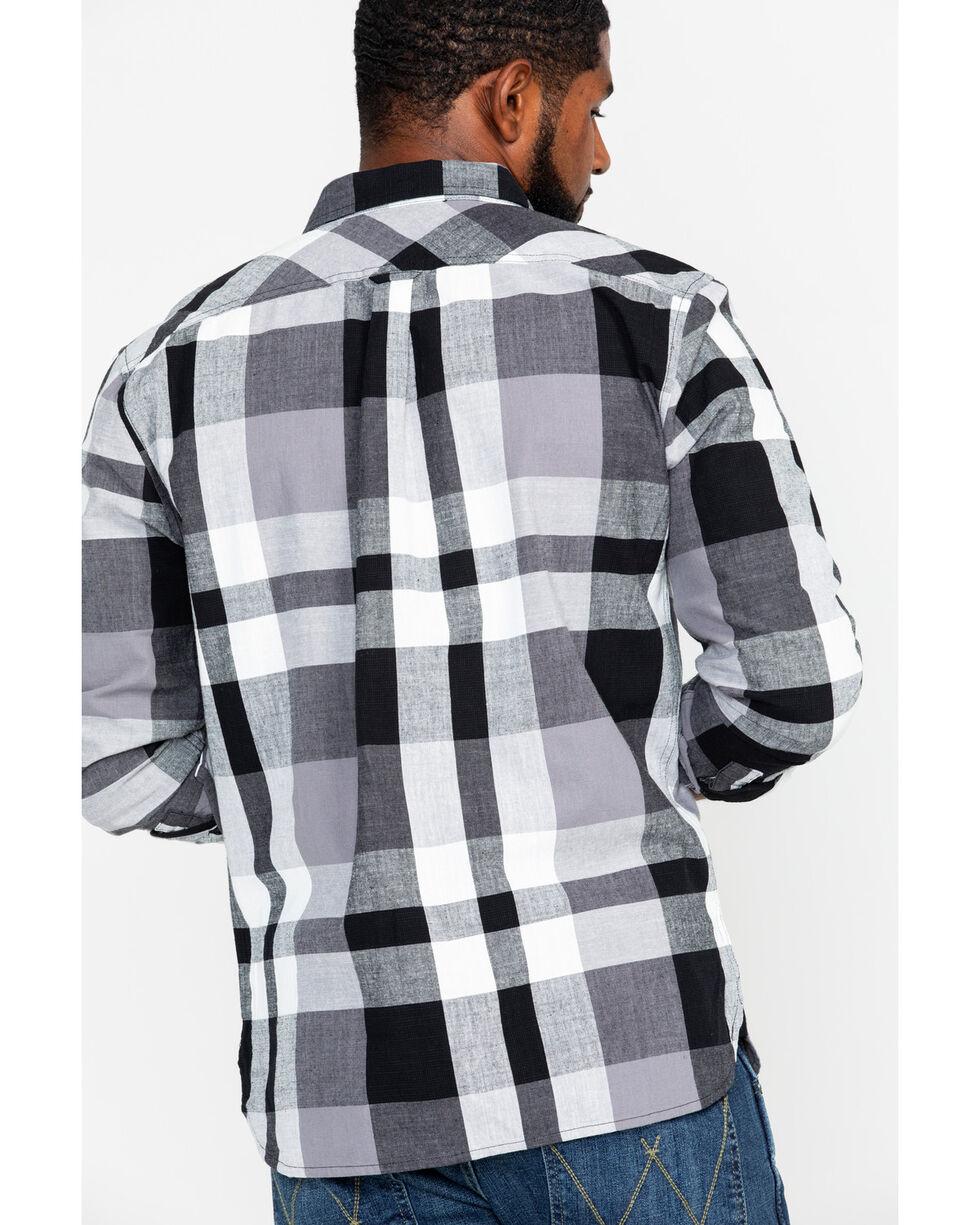 Levis Men's Stuttgart Slub Plaid Long Sleeve Western Shirt , Black, hi-res