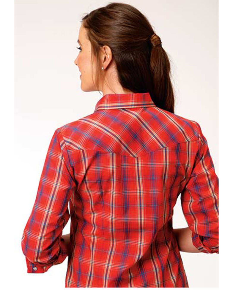 Karman Women's Red Plaid Long Sleeve Western Shirt , Red, hi-res