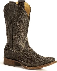 Corral Python Inlay Western Boots, Black, hi-res