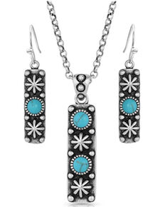 Montana Silversmiths Women's Starlight Starbrite Stone Turquoise Silver Jewelry Set, Silver, hi-res