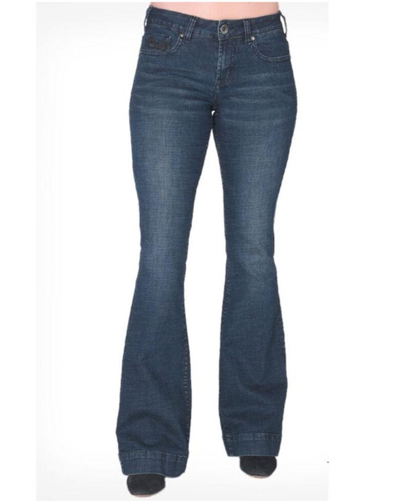 Cowgirl Tuff Women's Lighten Up Bootcut Jeans , Blue, hi-res