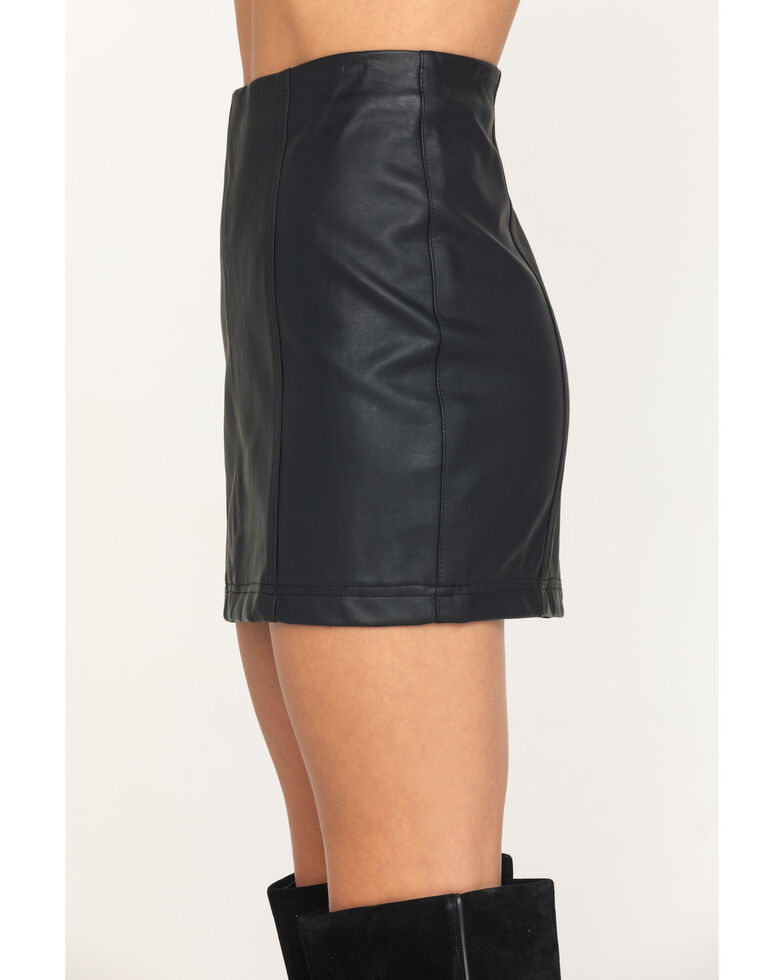 Rock & Roll Denim Women's Black Faux Leather Mini Skirt , Black, hi-res