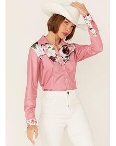 Ranch Dress'n Women's Solid Pink Wildflower Yoke Long Sleeve Snap Western Core Shirt , Pink, hi-res