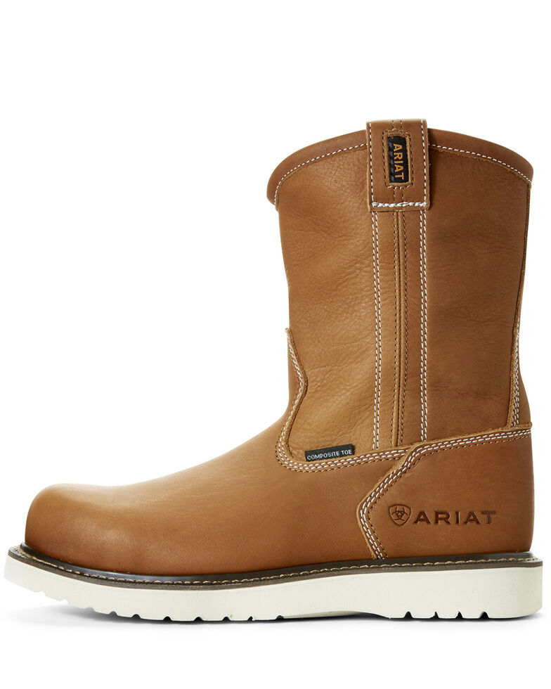 Ariat Men's Rebar Wedge Full-Grain Leather Work Boots - Composite Toe, Tan, hi-res