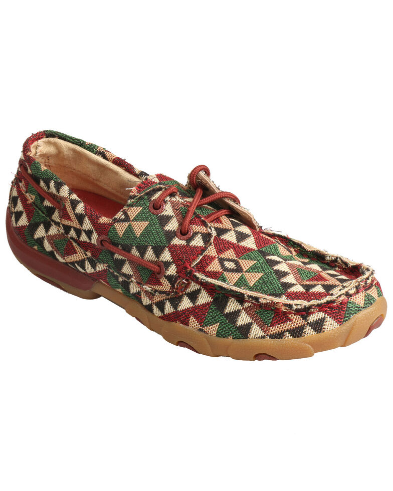 Twisted X Women's Moccasin Boat Shoes - Moc Toe, Multi, hi-res
