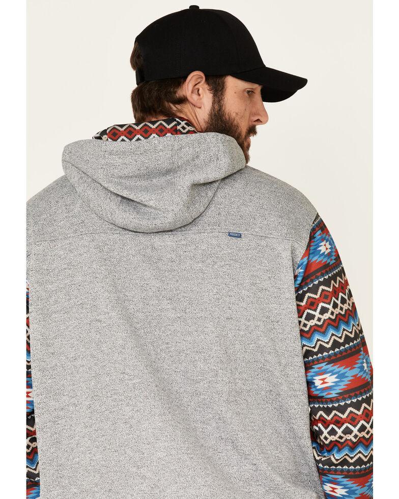HOOey Men's Grey Heather Aztec Sleeve Hooded Sweatshirt , Grey, hi-res