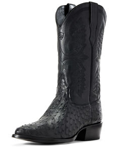 Ariat Men's Black Quill Ostrich Circuit Western Boots - Round Toe, Black, hi-res