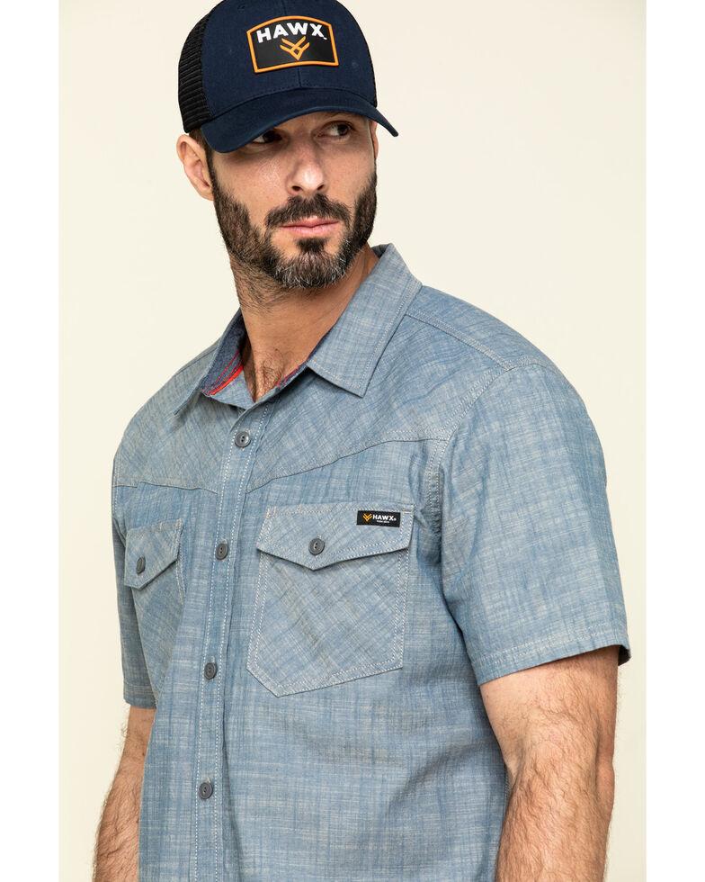 Hawx Men's Rancho Chambray Solid Short Sleeve Work Shirt - Tall , Blue, hi-res