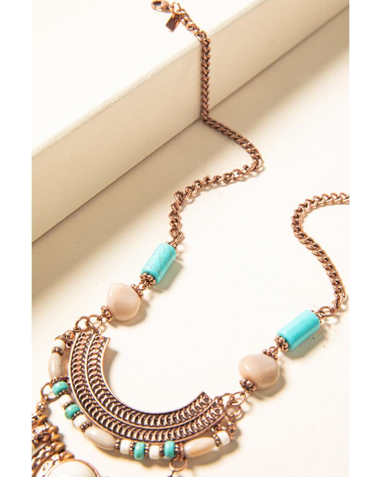 Shyanne Women's Desert Dreams Semi-Medallion Fringe Necklace, Rust Copper, hi-res