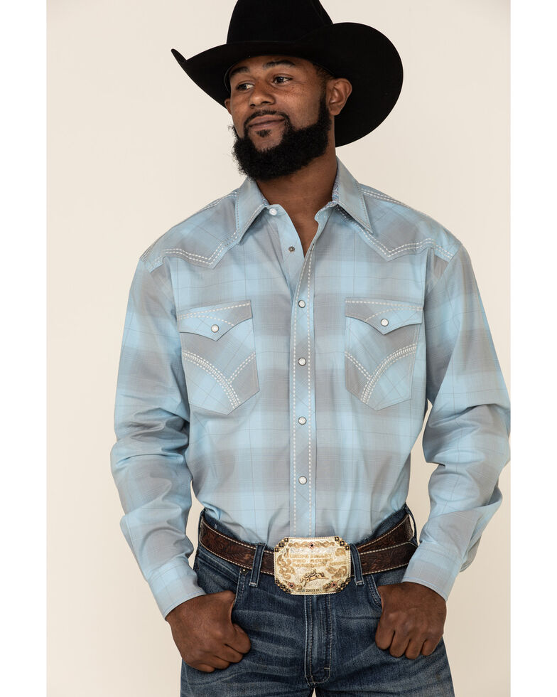 Rough Stock By Panhandle Men's Grandview Vintage Ombre Plaid Long Sleeve Western Shirt , Light Blue, hi-res