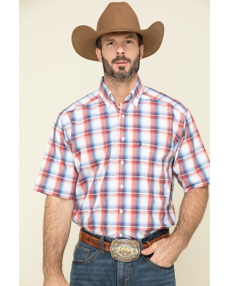 Tuf Cooper Men's Red Competition Stretch Plaid Short Sleeve Western Shirt , Red, hi-res