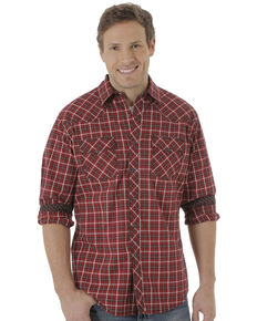 Wrangler 20X Men's Red Plaid Long Sleeve Western Shirt, Red, hi-res