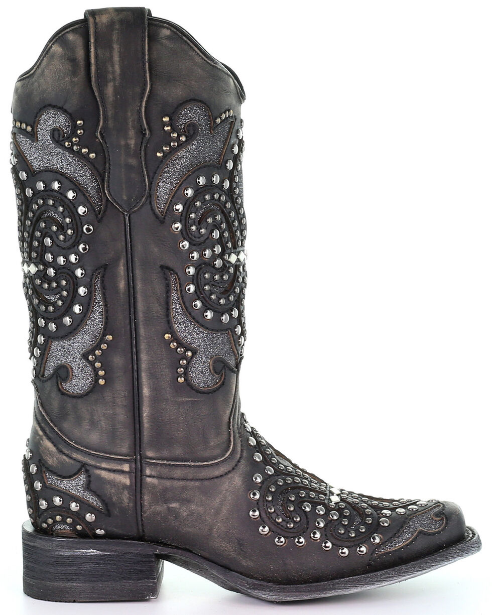 Corral Women/'s Black Studded Inlay Square Toe Western Boots E1534