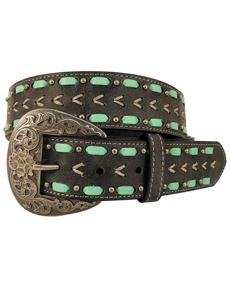 Cowgirls Rock Women's Arrow Shape Gray Waxy Cord Belt , Black, hi-res