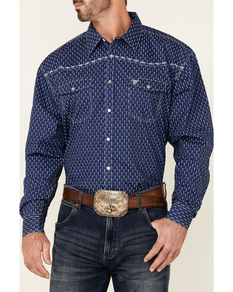 Cowboy Hardware Men's Blue Arrow Geo Print Long Sleeve Snap Western Shirt , Blue, hi-res