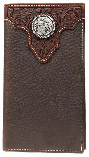 Ariat Tooled Overlay & Concho Rodeo Wallet, Brown, hi-res